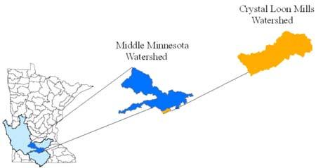 Map of Lake Crystal and Crystal Loon Mills Watershed