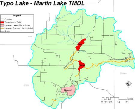 Map of Martin and Typo Lakes