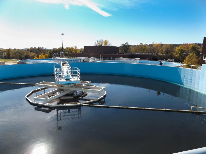 Wastewater treatment pond in Mankato
