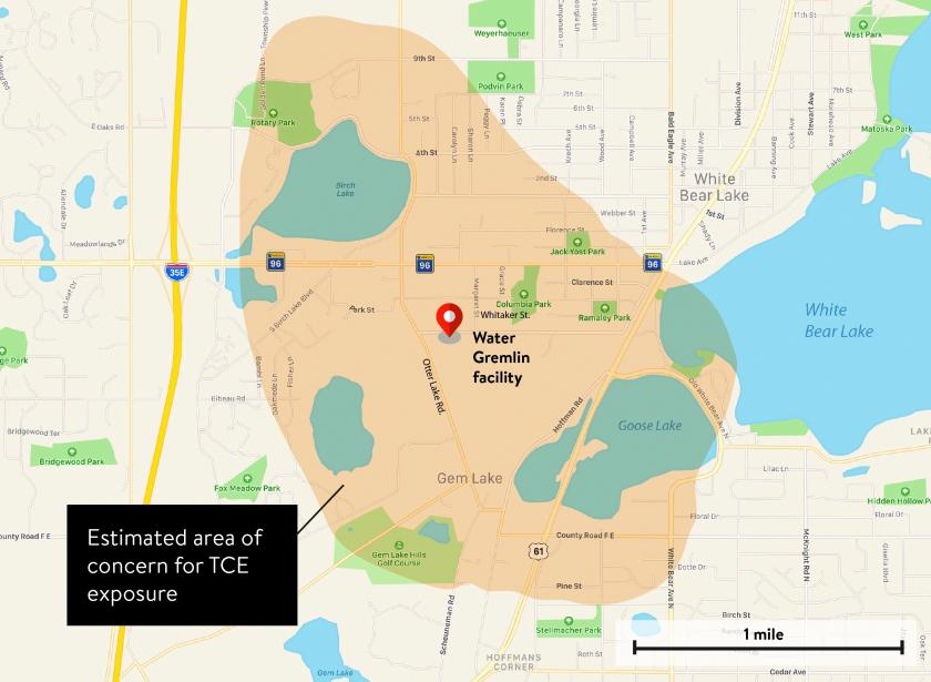 Updated map of White Bear Lake showing Water Gremlin facility at Otter Lake Rd and Whitaker St. The estimated area of concern extends approximately a mile in every direction from the facility.