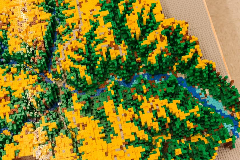 The Lego model seen from above shows the level of detail.