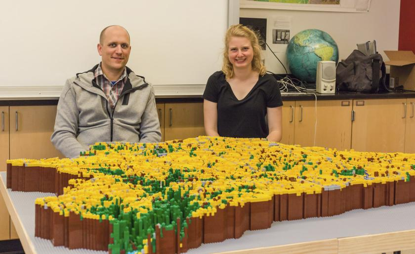 Allison and the completed project: A watershed made of Legos