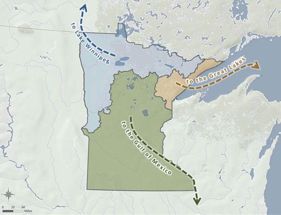 Map of Minnesota showing watershed flows.