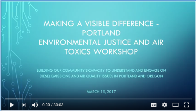 Screen shot of title frame for the environmental justice and air toxics workshop