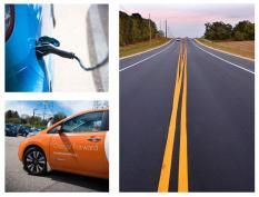 Collage of images including an electric vehicle charging station, an orange electric vehicle, and open highway stretching to the horizon.