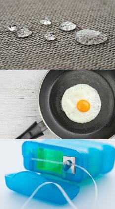 A collage of images showing water beaded on waterproof cloth, an egg in a frying pan, dental floss