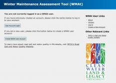 Screenshot of winter maintenance assessment tool