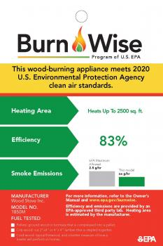Burn Wise program sample tag for wood burning appliances that states the heating area, efficiency, and smoke emissions