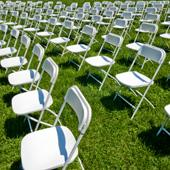 Chairs set up for a green event