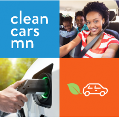 Clean Cars Minnesota images: A smiling woman in the driver's seat with two children in the back seat, a charging plug inserted in an electric car
