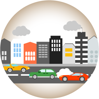 Icon showing a city skyline and freeway with traffic