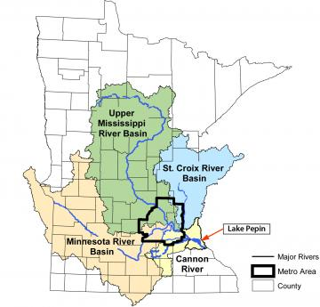 Map of Lake Pepin and the basins that flow into it