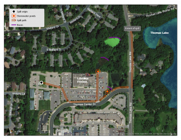 Map of gasoline spill in Eagan