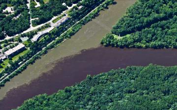 confluence of Mississippe River on right and the Minnesota River on left