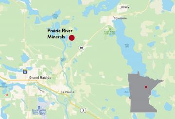 The Prairie River Minerals demonstration plant is located near Coleraine, Minnesota.
