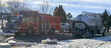 Emergency responders at site of spill