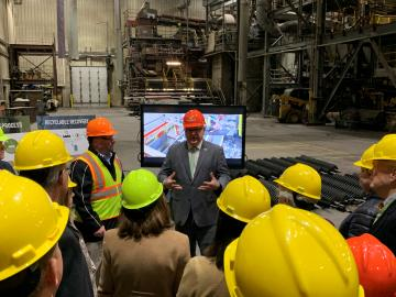 Commissioner and elected officials tour recycling facility