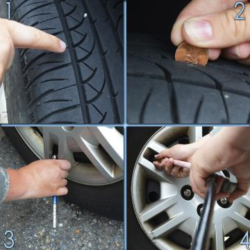 Checking tire tread and tire pressure