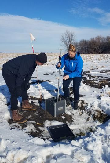 Two people standing in a farm field checking a controlled drainage structure