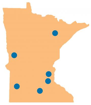 Minnesota map with dots indicating statewide meeting locations
