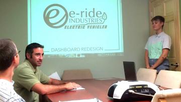Intern Nicole Zywiec makes her final presentation at E-Ride Industries.
