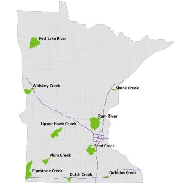 Map showing 10 small watersheds around Minnesota selected for longer-term federal funding, starting in 2020.