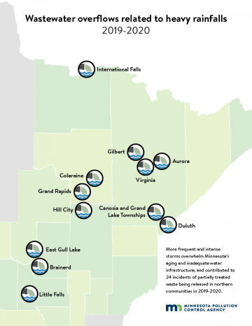 map showing locations in northeastern Minnesota where heavy rainfalls contirbuted to wastewater overflows in 2019-2020