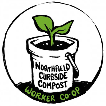 Logo of Northfield Curbside Compost Worker Co-op; illustration of a bucket with a green plant sprout inside