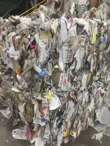 A bale of paper collected for recycling