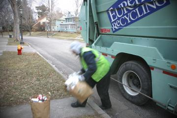 Picking up recyclables at curbside
