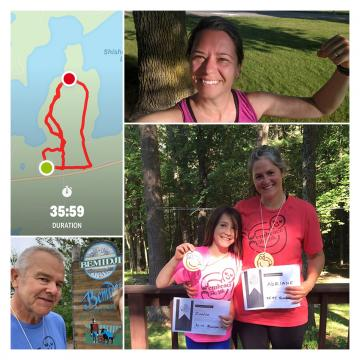 Multi picture collage of a blue and green map with red lines, man near bemidji sign, woman flexing her arm, and a child and woman holding paper certificates.