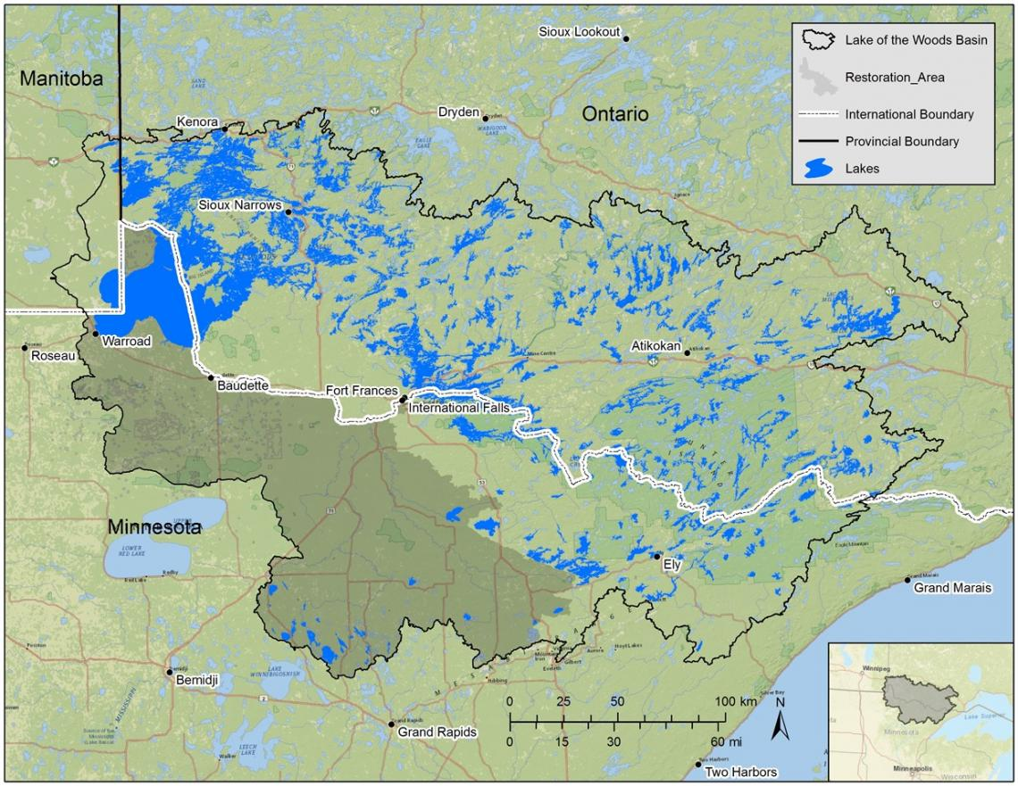 lake of the woods basin map of nutrient tmdl