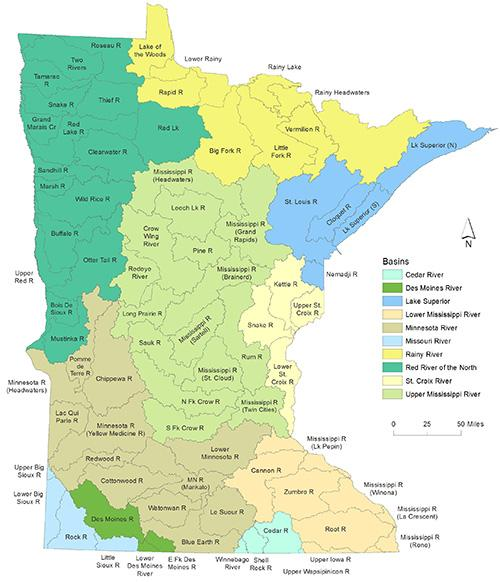 Watershed Maps Minnesota Pollution Control Agency - Mn on us map